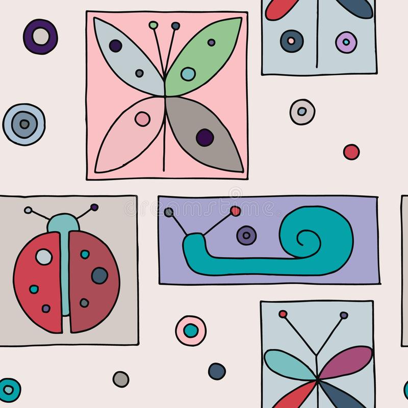 Seamless vector pink background with hand drawn decorative childlike butterfly, ladybug, snail, dragonfly. Graphic illustration. Print for wrapping, wallpaper vector illustration