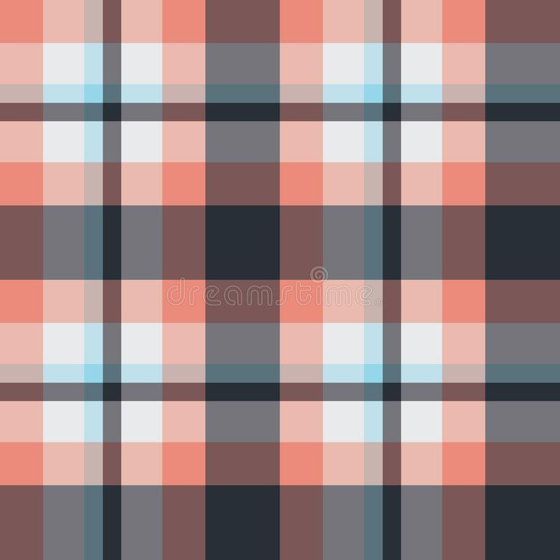 Seamless vector plaid pattern in coral, blue and grey colorway. stock illustration