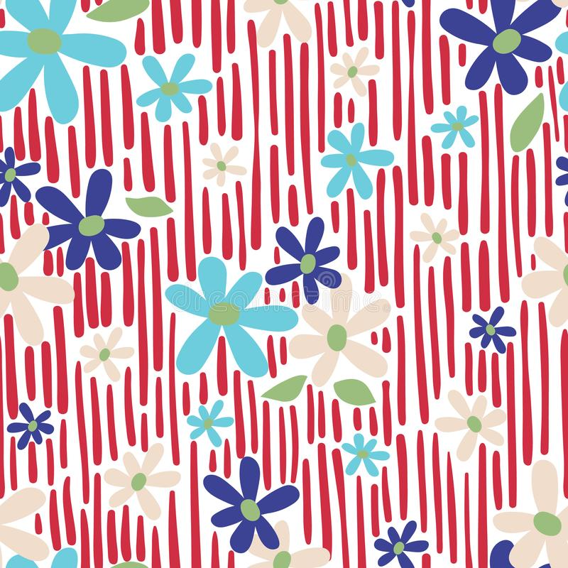Seamless vector repeat daisy floral print with abstract red stripe background pattern. royalty free illustration