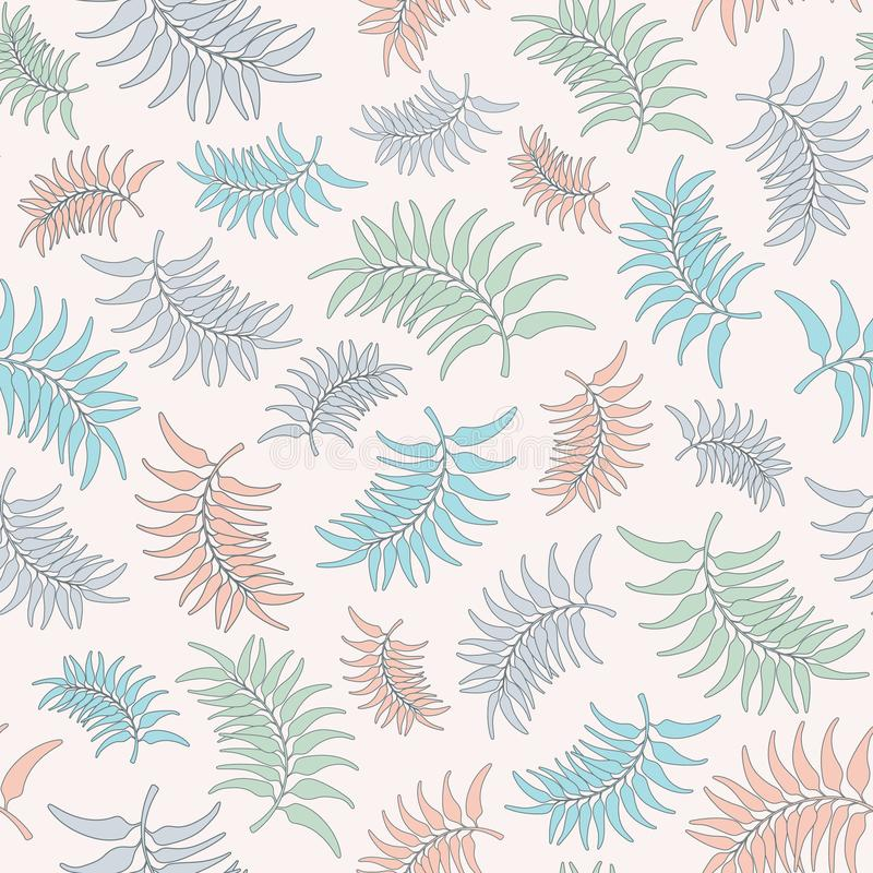 Seamless vector repeat pattern of pastel tropical leaves leaves. Tropical foliage surface pattern design background. vector illustration