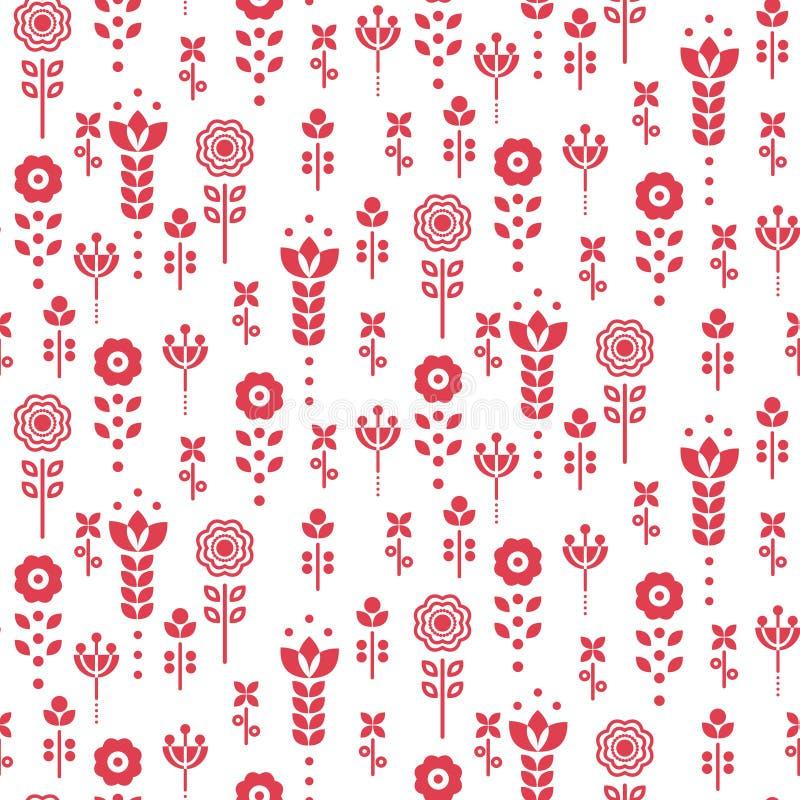Seamless vector scandinavian floral pattern. Red and white folk monochrome design. vector illustration