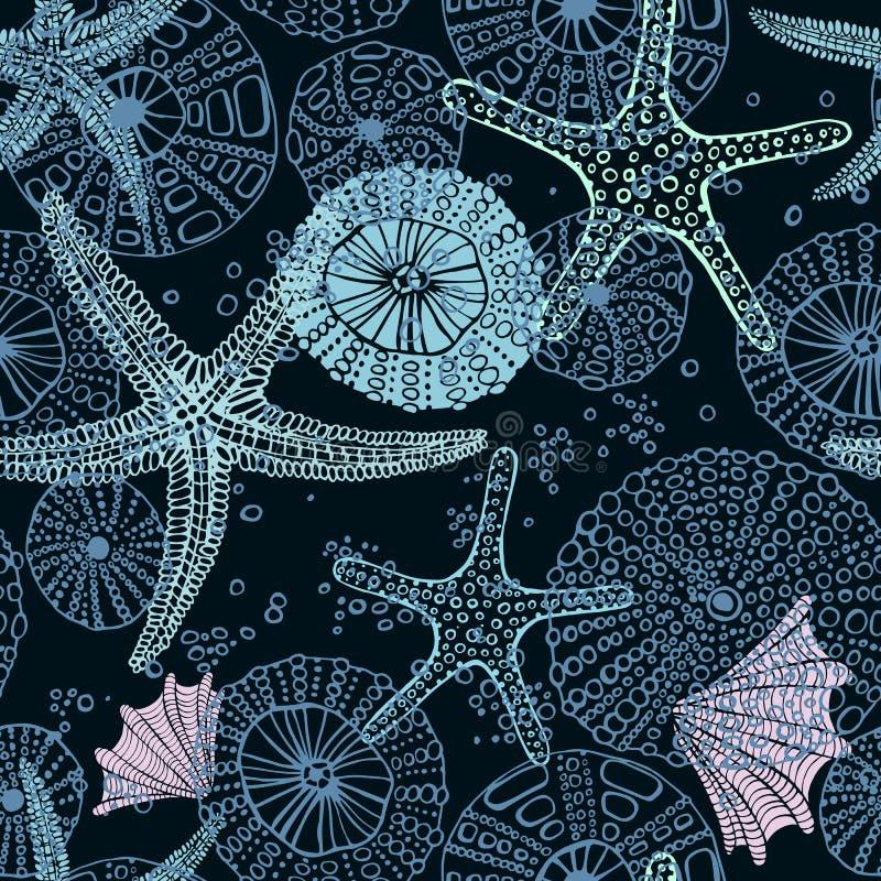 Seamless vector sea pattern. Seashell, various seashells, starfish vector illustration