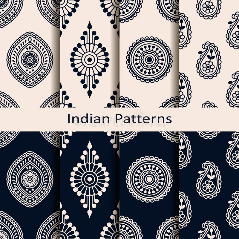 Seamless vector set of eight indian element patterns. seamless template in swatch panel. design for print, textile, woodblo vector illustration