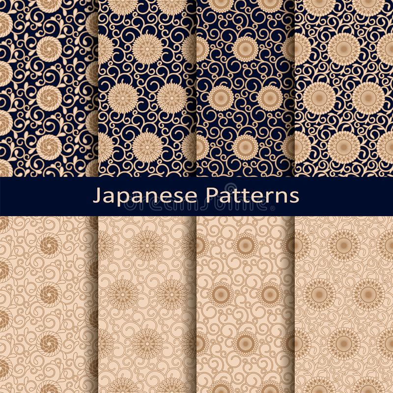 Seamless vector set of eight japanese patterns. seamless template in swatch panel. design foe print, textile, woodblock vector illustration