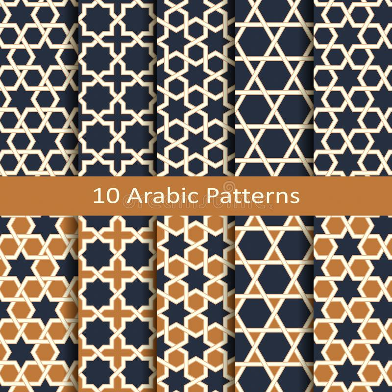 Seamless vector set with ten arabic geometric traditional patterns. design for covers, interior, package, tiles vector illustration