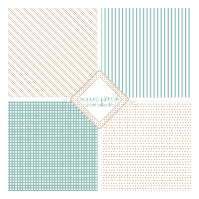 Seamless vector set. Seamless texture pack simple classic version. Points, lines, squares. Vector illustration. Simple design stock illustration