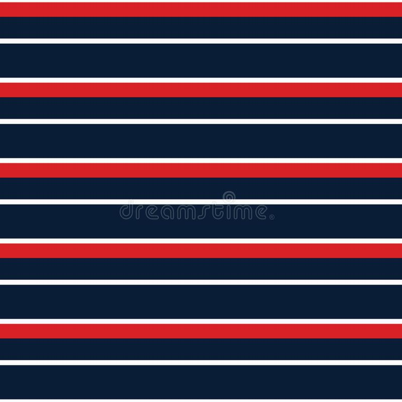 Seamless vector stripe nautical pattern with colored horizontal parallel stripes red, navy and white background. Seamless vector stripe nautical pattern with vector illustration
