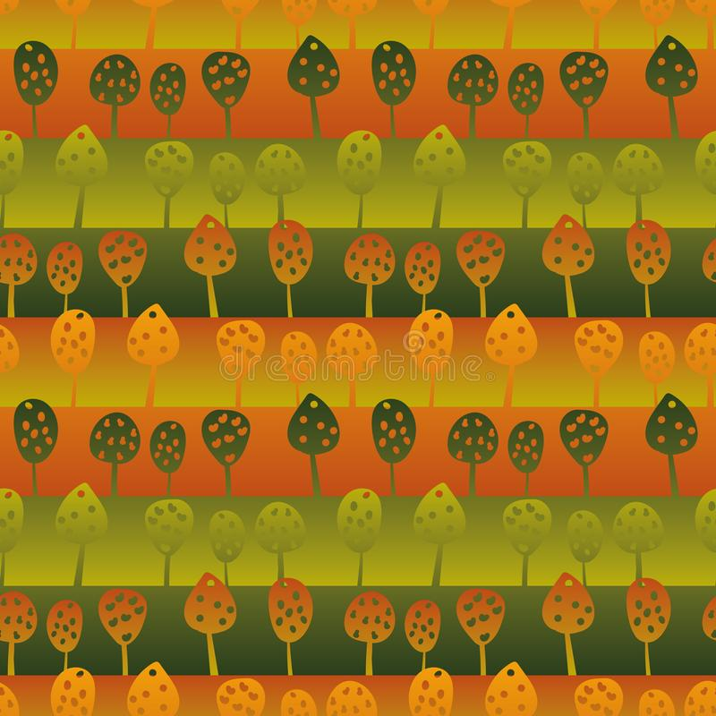 Seamless vector stripes pattern with orchard landscape in greens and reds stock illustration