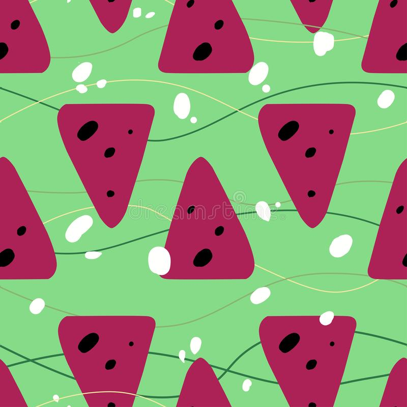 Seamless summer pattern with watermelons vector illustration
