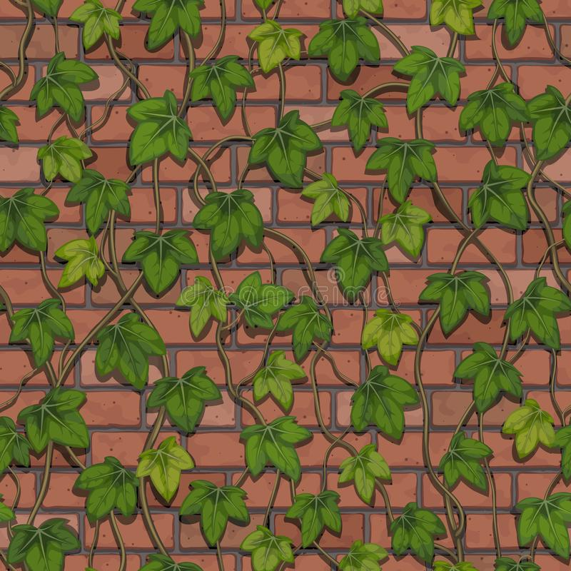 Seamless vector of a wall made of red bricks twisted with ivy vector illustration