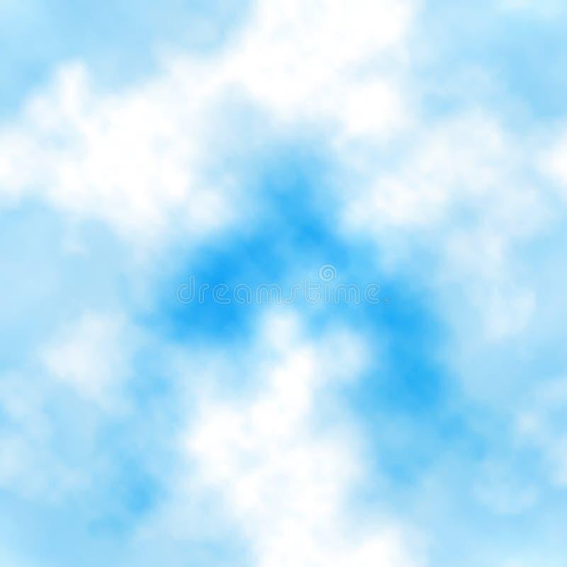 Blue sky clouds seamless tile stock illustration