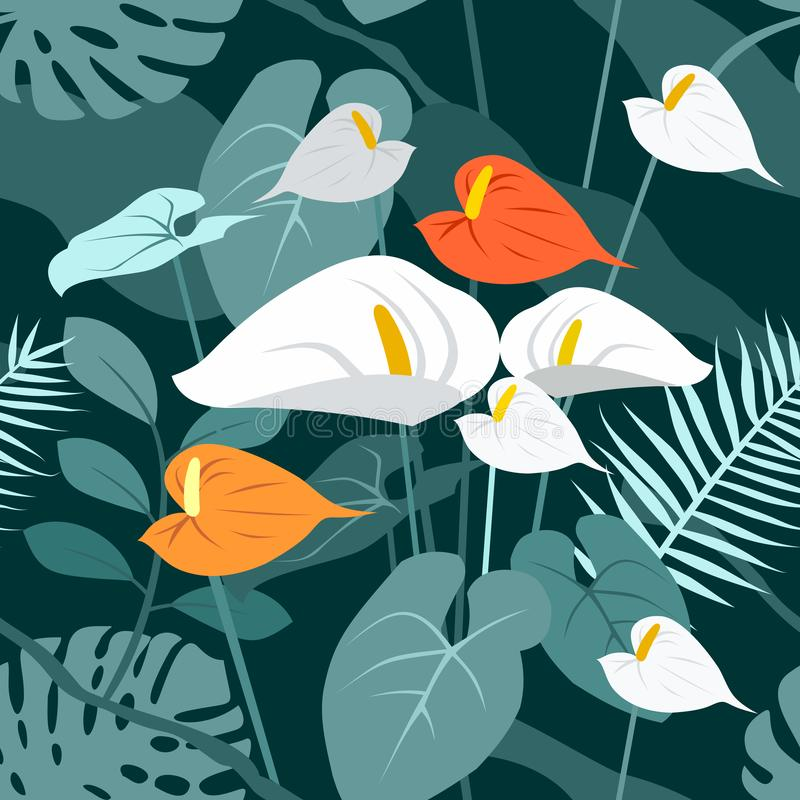 Free Seamless Vector Trend Texture Pattern Of Tropical Flowers And Leaves. Anthurium, Monstera In The Jungle. Blooming Garden Royalty Free Stock Image - 167051626