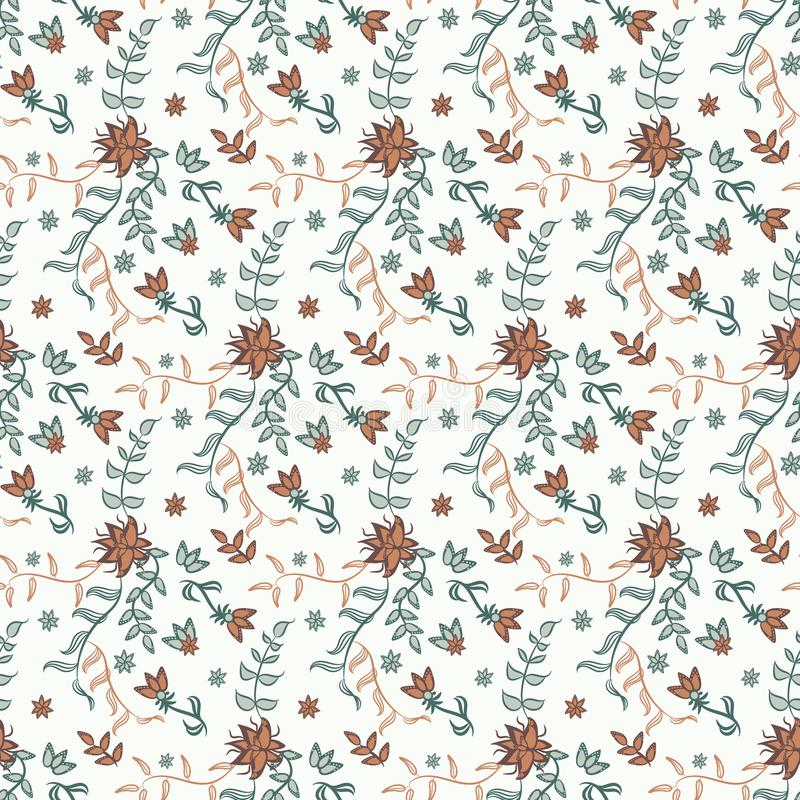 Seamless vector vintage chintz floral pattern on a light background. vector illustration