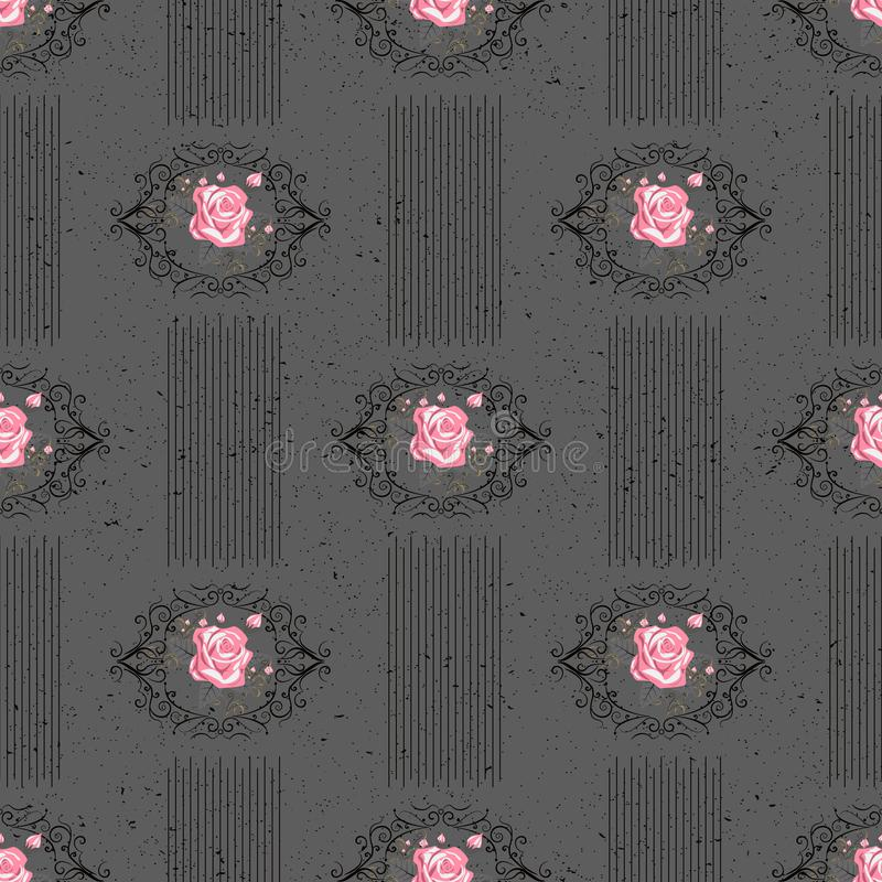 Seamless vector vintage pattern with Victorian bouquet of red flowers on a black background. White roses, tulips, delphinium with royalty free illustration