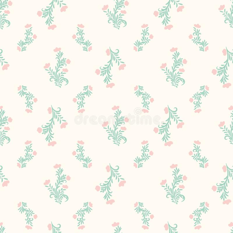 Seamless vector vintage romantic floral pattern in pale pastel colors 向量例证