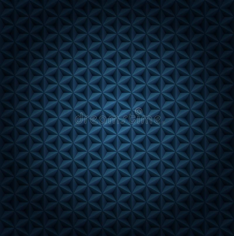 Seamless vector volumetric dark blue pattern with vignette. Glossy luxury dark blue polygonal tiles modern background. vector illustration