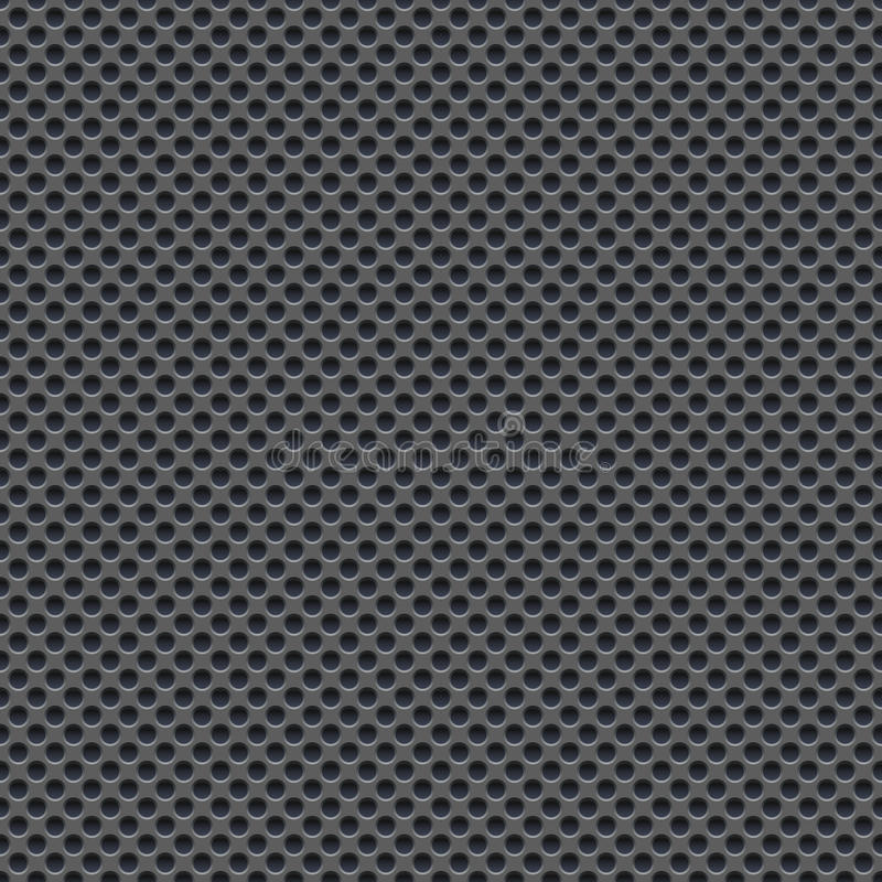 Seamless vector wallpaper of perforated gray metal plate. vector illustration