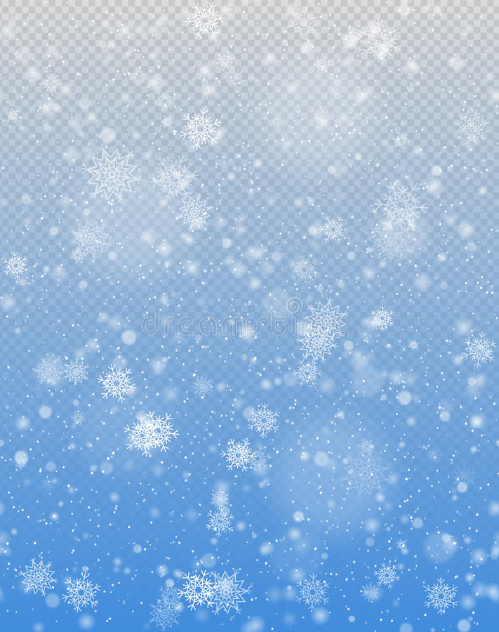 Seamless vector white snowfall effect on blue transparent background transparency in additional format only. Winter falling snow texture. Delicate white vector illustration