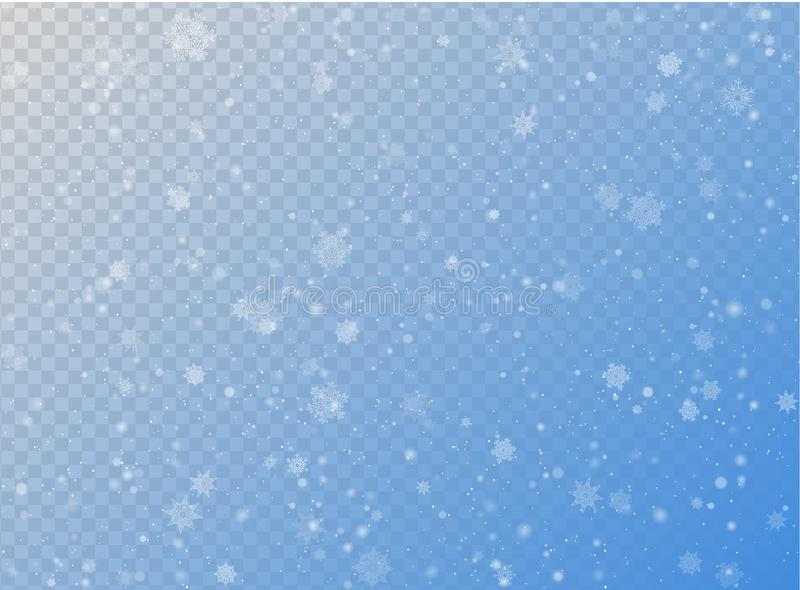 Seamless vector white snowfall effect on blue transparent horizontal background. Overlay snow flake Christmas or New Year winter royalty free illustration