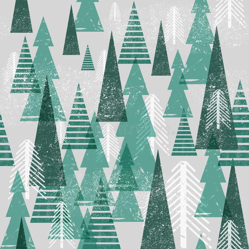 Seamless vector winter forest pattern. Christmas background. Green trees in clouds. Grunge texture graphic simple vector illustration