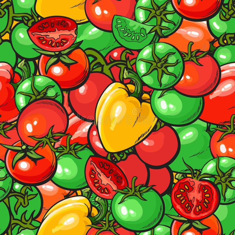 Seamless vegetables pattern with red and green tomato and pepper vector illustration. Background design for vegetarian organic food package and textile prints vector illustration