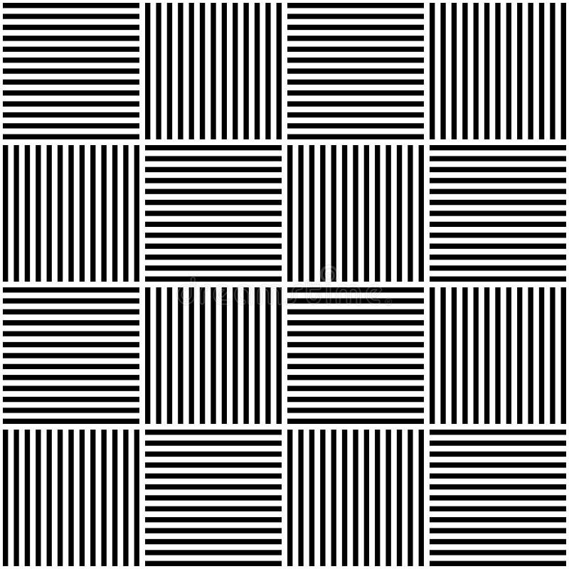seamless vektor för abstrakt geometrisk modell Väva textiltyg med svartvita korsade raka linjer kontrollerat vektor illustrationer
