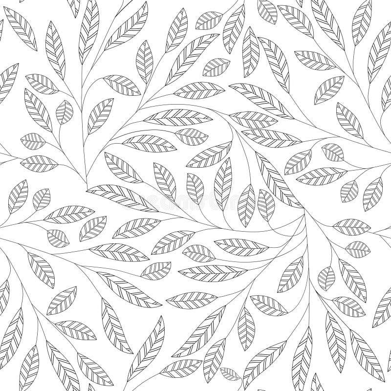 seamless vektor för abstrakt leaf för bakgrund blom- royaltyfri illustrationer