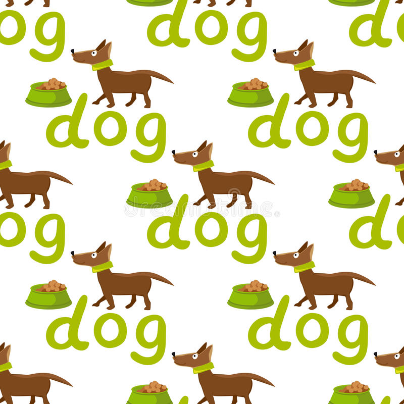seamless vektor för bakgrund Lycklig hund med bunken och bokstäver royaltyfri illustrationer
