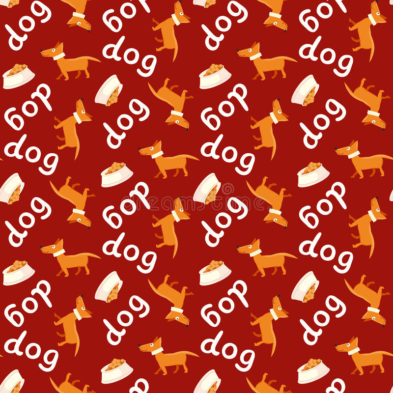 seamless vektor för bakgrund Lycklig hund med bunken och bokstäver stock illustrationer