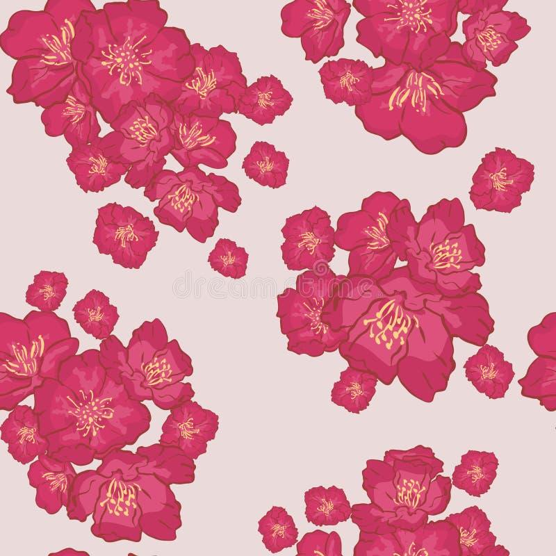 seamless vektor för bakgrundsmodell delikat rosa Sakura blomning eller japansk blomma körsbär som är symboliska av våren i ett sl vektor illustrationer