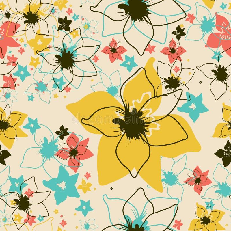 seamless vektor för blom- blommaorchidmodell royaltyfri illustrationer