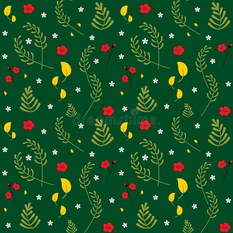 seamless vektor för blom- modell Botanisk modell för moderiktig dekorativ färgglad vår Ställ in av olika växter, sidor och blommo stock illustrationer