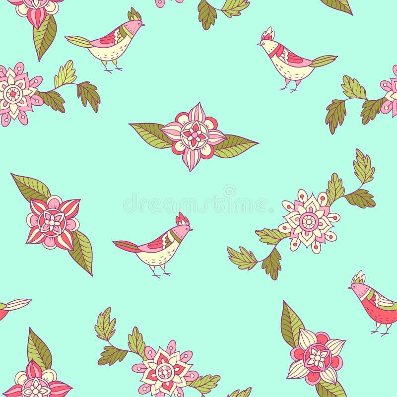 seamless vektor för blom- modell Dekorativa blommor och fåglar royaltyfri illustrationer