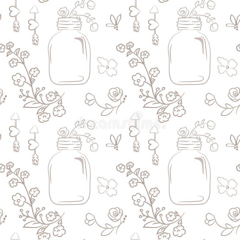 seamless vektor för blom- modell Gullig bukett av bröllopblommor stock illustrationer