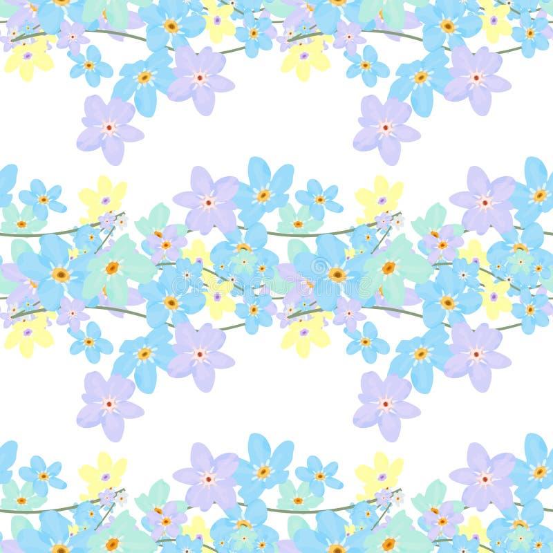 seamless vektor för blom- modell Illustration av blommor stock illustrationer