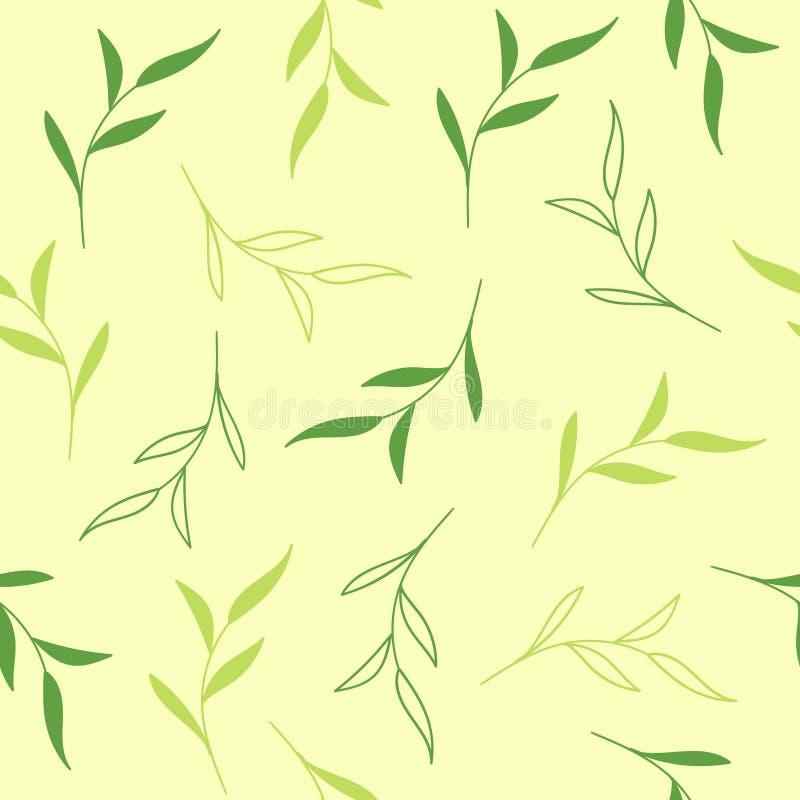 seamless vektor för blom- modell Ljust - grön bakgrund med teblad vektor illustrationer