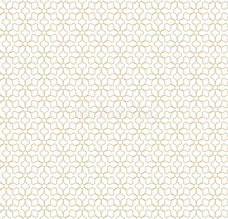 seamless vektor för geometrisk modell Guld- linjer textur Orientalisk traditionell lyxig bakgrund royaltyfri illustrationer
