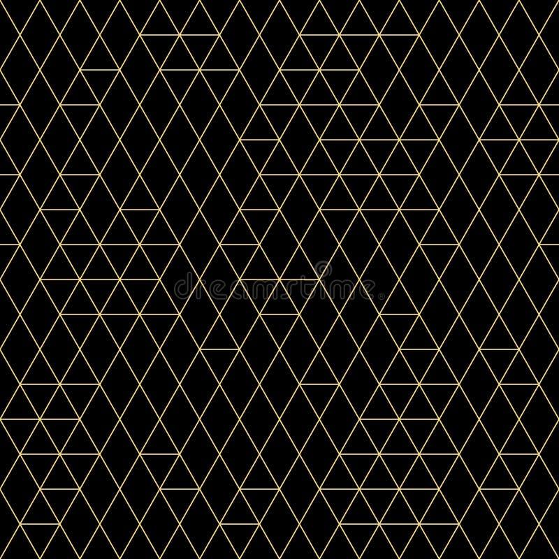 seamless vektor för geometrisk modell Guld- trianglar på mörk bakgrund Minimalist abstrakt modern textur royaltyfri illustrationer