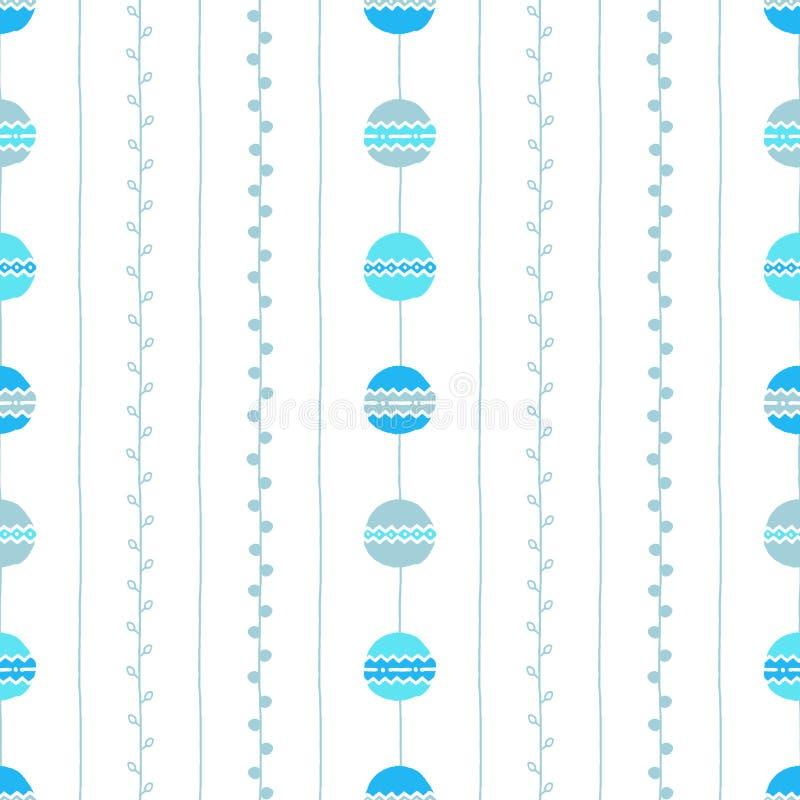 seamless vektor för modell Blått vertikala linjer, cirklar och ris på vit bakgrund Hand dragen abstrakt filialillustration vektor illustrationer