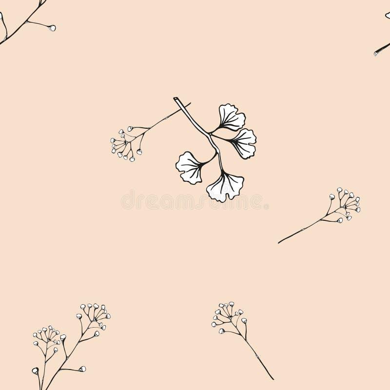 seamless vektor för modell Delikat filialGinkgo av med sidor Handgjord svartvit modell på en rosa backg för tappning royaltyfri illustrationer