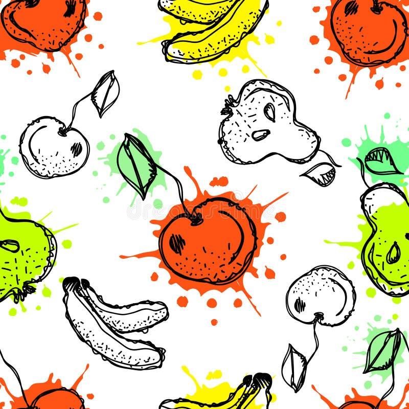 seamless vektor för modell Den drog handen bär frukt illustrationen av den färgrika körsbäret, bananen, päronet, bär stock illustrationer