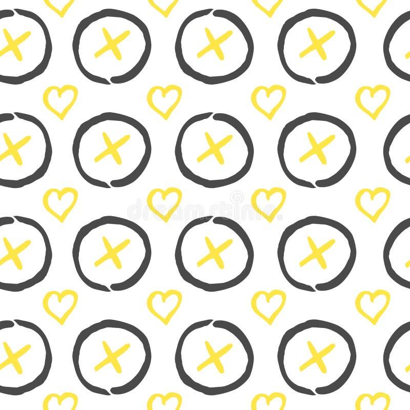 seamless vektor för modell Den drog svart-, vit- och gulinghanden skrivar ut med hipsteren XOXO stock illustrationer
