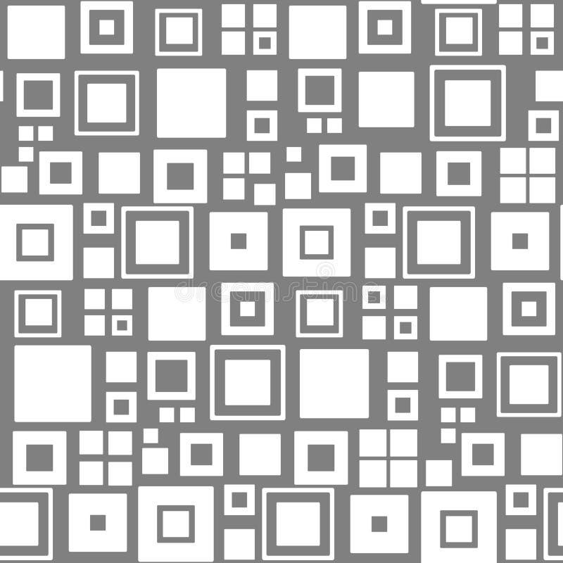 seamless vektor för modell fyrkanter Vit- och grå färgbakgrund stock illustrationer