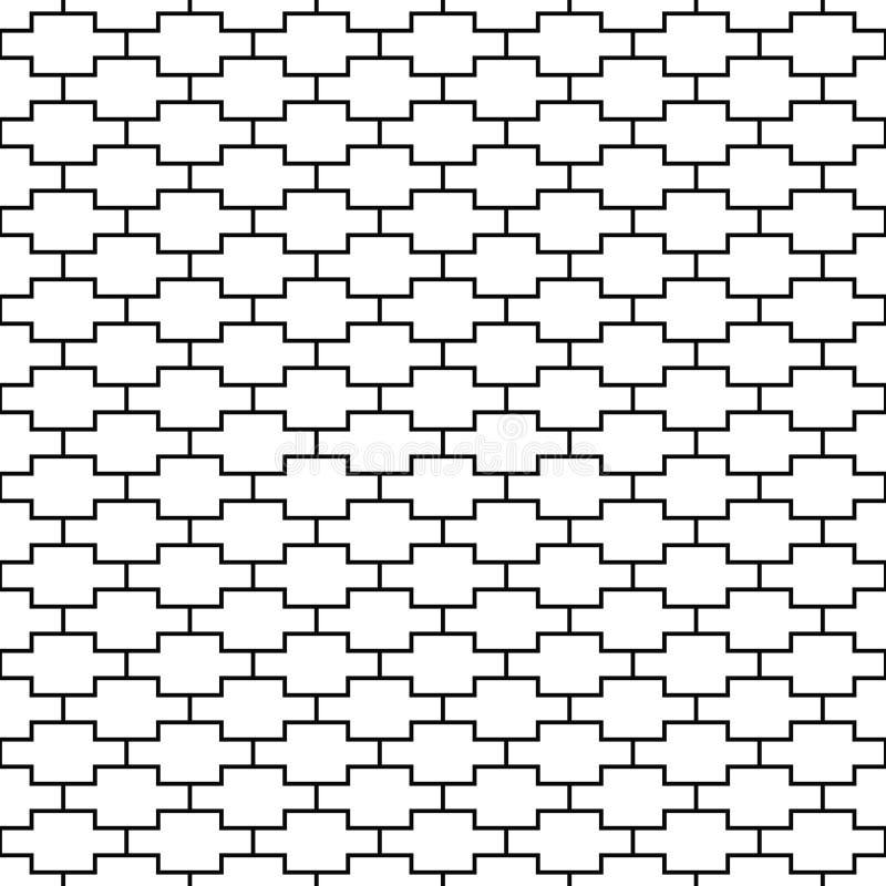 seamless vektor för modell geometrisk textur Svartvit bakgrund Monokrom linje fyrkantig design royaltyfri illustrationer