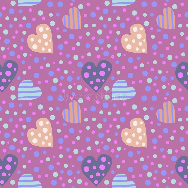 seamless vektor för modell Gullig bakgrund med färgrika hjärtor och prickar på den violetta bakgrunden stock illustrationer