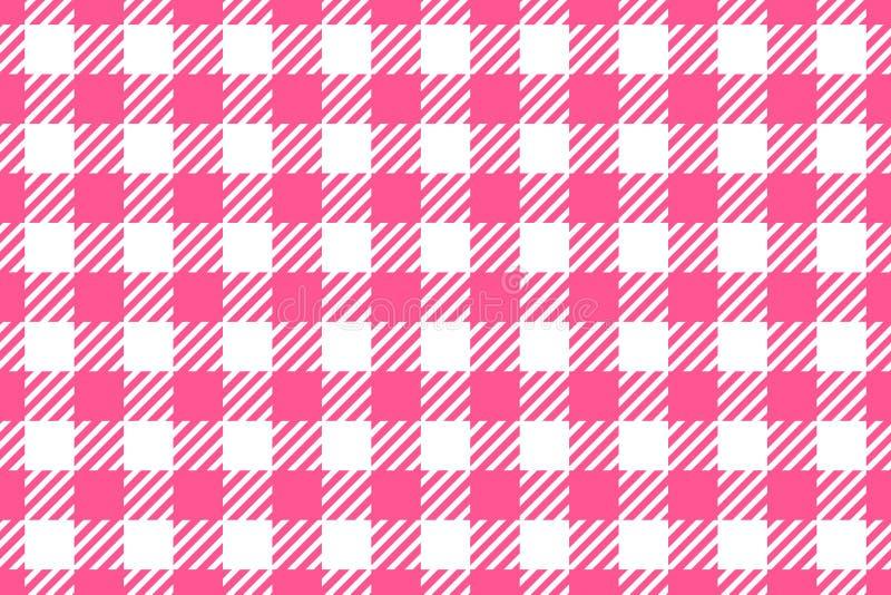seamless vektor för modell Horisontalbakgrundsrosa färger för bred cell på den vita tabelltorkduken i en bur Abstrakt rutigt royaltyfri illustrationer