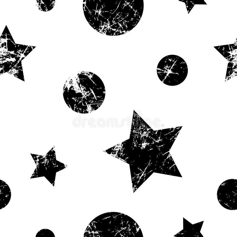 seamless vektor för modell Idérik geometrisk svartvit bakgrund med stjärnor och cirklar stock illustrationer