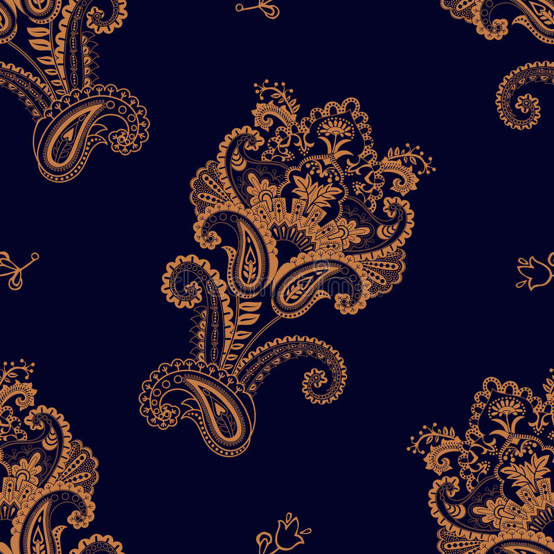 seamless vektor för modell Indisk blom- bakgrund paisley kvinna för stil för blåtiraframsidamode sexig Design för tyg stock illustrationer