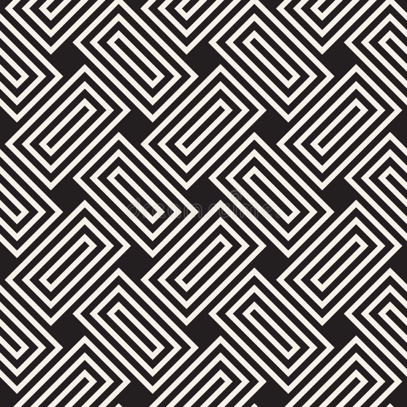 seamless vektor för modell Modern stilfull abstrakt textur Upprepa geometriska fläta samman linjer stock illustrationer
