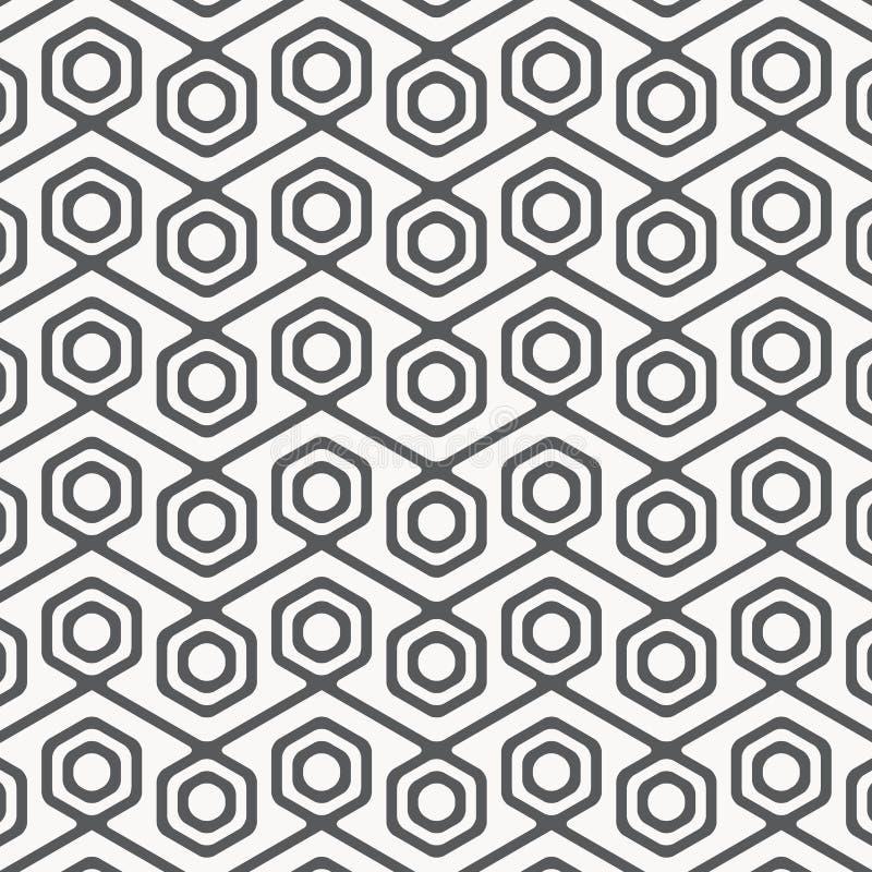 seamless vektor för modell Modern stilfull textur med monokrom spaljé Upprepa geometriskt sexhörnigt raster royaltyfri illustrationer